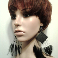 Attractive Black Wooden and Black Feather Earrings,  Wooden Earrings, Feather Earrings, Large Earrings, Dangling Earrings