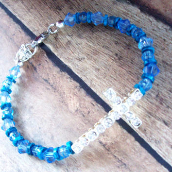 Cross Bracelet For Her, Christian Jewelry, Christian Bracelet For Mom, Blue Jewelry, Rhinestone Bracelet