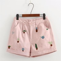 Plant Embroidery Shorts