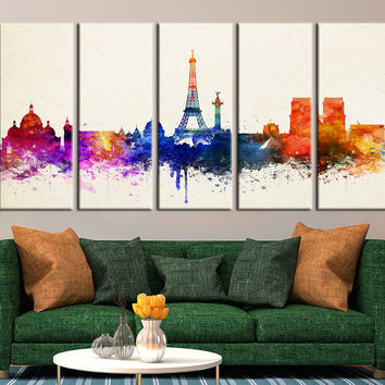 Watercolor Paris City Skyline, Paris France Cityscape, Eiffel Tower No:117