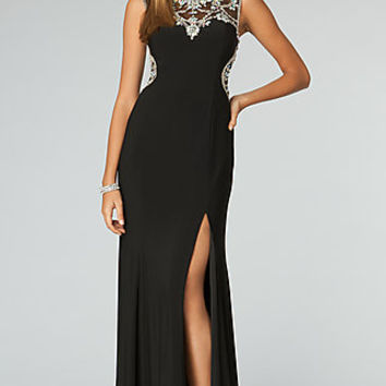 High Neck Gown with Low Cut Back from JVN by Jovani