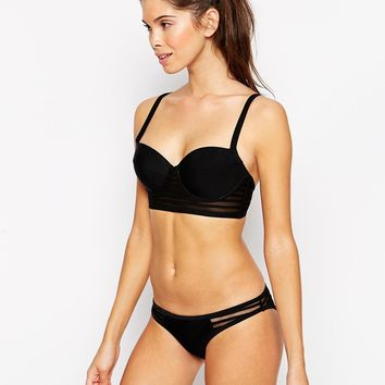 Wolf & Whistle Mesh Longline Push Up Bikini Top Size D-G