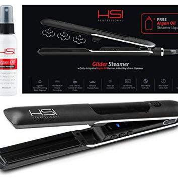 HSI Professional Glider Steamer Ceramic Flat Iron w/Steam Dispenser