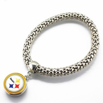 New style Sports Pittsburgh Steelers Adjustable Silver Elastic Bracelet Glass 18mm Ginger Snap button Bracelets&Bangle Jewelry