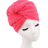 Shintop Sweet Type Dry Hair Cap Sweet Superfine Fiber Soft Towel Bath Head Wrap Turban (Peachblow)