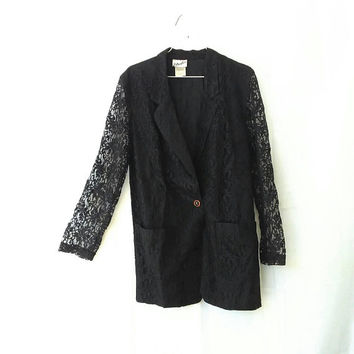 90s Black Lace Jacket Floral Blazer Coat Sheer Sleeves Grunge Goth Nineties Vtg 1990s Vintage