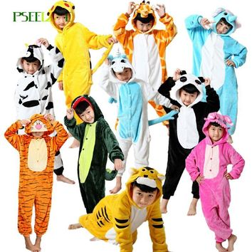 Children's pajamas for girls Boy dinosaur penguin kids Pikachu Totoro Flannel Hooded winter girl pajamas children's sleepwear