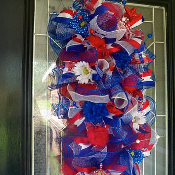 Patriotic Door Hanger, Swag, Wreath, Fourth of July Decoration Ready to Ship
