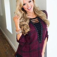 Everything To Gain Plaid Laced Tie Up Top Burgundy