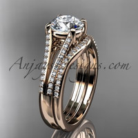 "14kt rose gold diamond unique engagement set, wedding ring with a ""Forever One"" Moissanite center stone ADER108S"