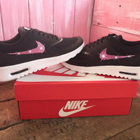 Blinged Womens Nike Air Max Thea Running Shoes Black Blinged Out With Pink Swarovski Crystal Rhinestones