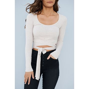 Wrapped With A Bow Crop Top (Taupe)