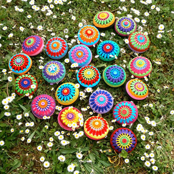 Crochet Mandala Coin Purse - Crochet Bag In Red, Green, Orange And Turquoise, Orange Button, Pink Base