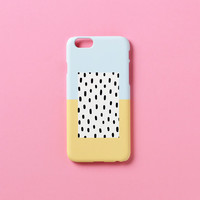 iPhone 5s case, iPhone 5 case - Pastel blue yellow black dot - iPhone 6 case, iPhone 6 Plus case, Good Luck Gold Sticker non-glossy M05
