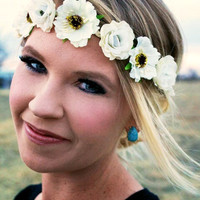 Remember Me Floral Headband - Ivory
