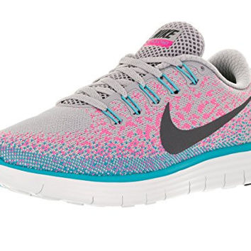Nike Womens Free Rn Distance Wolf Grey/Dark Grey/Pink Blast Running Shoe (7.5)