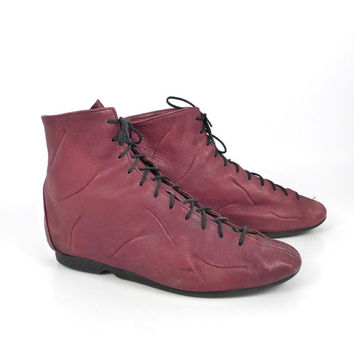 Zodiac Leather Boots Vintage 1980s Lace up Boxing Women's  Maroon