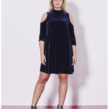 Open Shoulder Velour Swing Dress