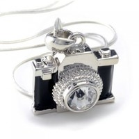 PammyJ Silvertone Miniature Camera Pendant Crystal Stud Necklace, 18""