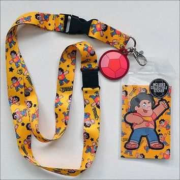 Steven Universe Neck Lanyard Necklace ID Holder Keychain with Sticker OFFICIAL