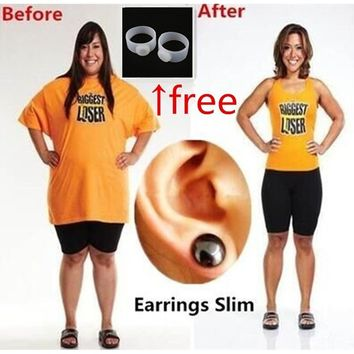 Bio Magnetic Slim Ear Stickers Earrings Acupoints Loss Weight Wearing Slimming(Free Weight Toe Ring) JFEDDJ001 (Size: 1, Color:
