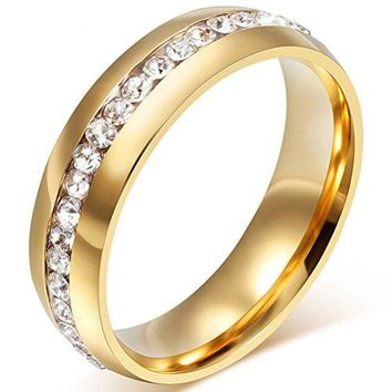6mm Titanium Stainless Steel 18k Gold Wedding Ring Channel Set Cubic Zirconia Engagement Band