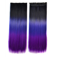 5 Cards Hair Extension 3 Colors Gradient Ramp Wig black dark purple violet