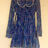 Vintage 60's Psychedelic Empire Waist Mini Dress - tunic, shirt, women's small, extra small, blue, peter pan collar
