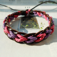 Spring Gift Tiny Style Pink Purple Cotton Cord Nature Brown Leather Braid with Special knot Adjustable Wrap Bracelet  S-24