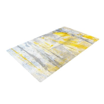 "CarolLynn Tice ""Abstraction"" Grey Yellow Woven Area Rug"