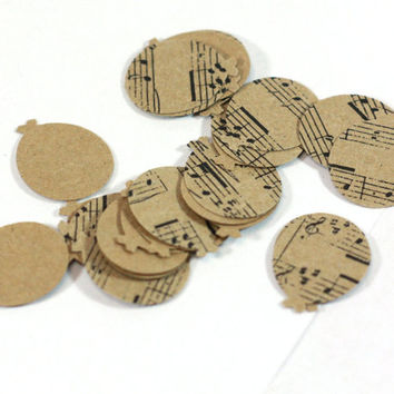 25 Music Note Kraft Balloon Cut Outs, Table Scatter, Confetti, Scrapbook Embellishment, Cardstock Balloons, Card Making - 1 inch shapes