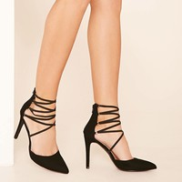Faux Suede Strappy Heels