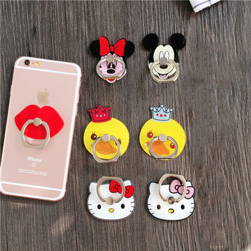 Cute Cartoon Finger Ring Holder Universal Bow Bear Kitty Minnie Mobile Phone 3D Metal Stander Finger Grip for iPhone Samsung