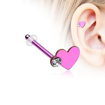 Colorline Adorable Heart Sparkle Piercing Stud with O-Rings