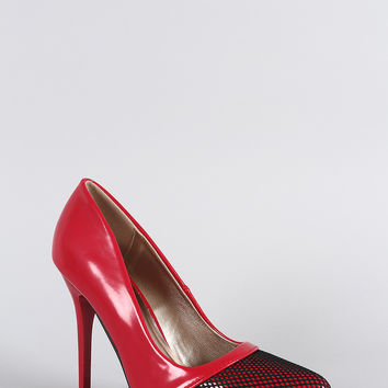 Qupid Fire Hot Mesh Pointy Toe Pump