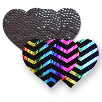 Nippies® Midnight Rainbow Heart Pasties Midnight Rainbow Heart Pasties Rainbow A-DD