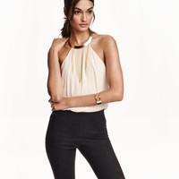 Halterneck Necklace-trim Top - from H&M