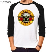 Fashion top tees Rock Band Guns N Roses long sleeves T-shirts Swag Homme HIP HOP Brand-clothing fitness funny men t shirt
