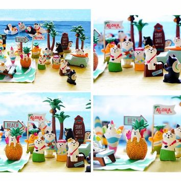 Japanese genuine bulks kawaii cartoon summer hawaii hula skirt animals beach dance hedgehog bear mermaid cat model figures