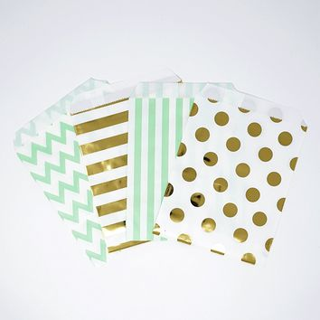 Mint Gold and White Polka Dot, Stripe, Chevron Paper Treat Favor Bags 5x7 Gift Bags - 48 count
