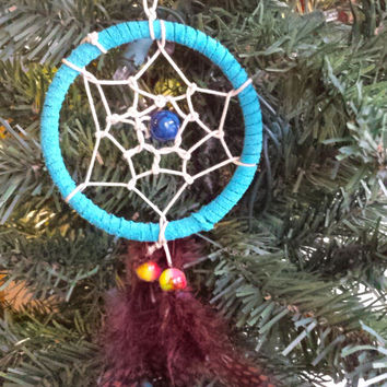 "Handmade 3"" Dream Catcher, Legend of the Dreamcatcher, Native American Indian Wall Hanging Decor, Feathers, Good Dreams, Housewarming Gift"