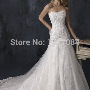 2015 New Style A Line Strapless Collection Lace organaza Wedding Dresses