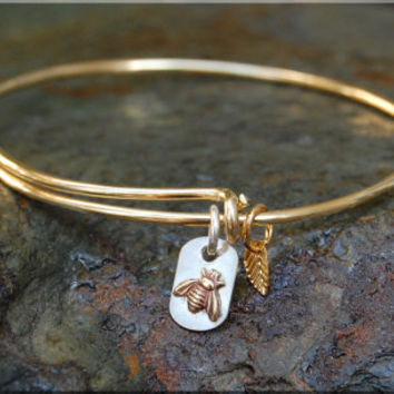 Tiny Bee Expandable Bangle Bracelet, Sterling silver little bee pendant, stacking bangle, adjustable bangle, mixed metal insect charm