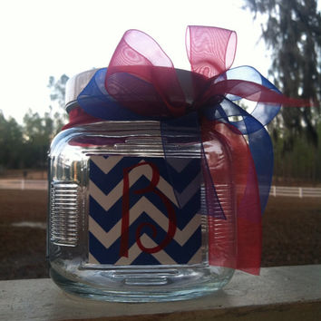 Personalized Jar with Hair Ties and Initial Christmas houndstooth chevron zebra print blue and white floral chevron 25 ties am mason jar