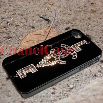 Chanel silvertone love and peace necklace iPhone 4 4S iPhone 5 5S 5C and Samsung Galaxy S3 S4 S5
