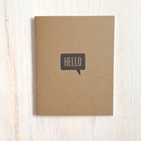 Medium Notebook: Hello, Brown, Cute, Party Favor, Blank Journal, Wedding, Favor, Journal, Blank, Unlined, Unique, Gift, Notebook, KR240