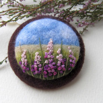 Needle felted brooch ,Needle felted brooch with embroidery,Wool felt brooch, Flower brooch,Gift ideas,For her,felted landscapes