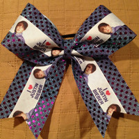 1 Justin Bieber Purple Iridescent Sequin Cheer Dance Bow Ribbon