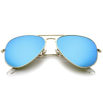 Large Premium Design Matte Metal Mirrored Lens Aviator Sunglasses 57mm A806