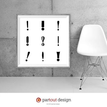 Printable Art exclamation mark prints Zen Art Home Decor Modernist art Minimal Art Print Instant downloadable art black & white art prints